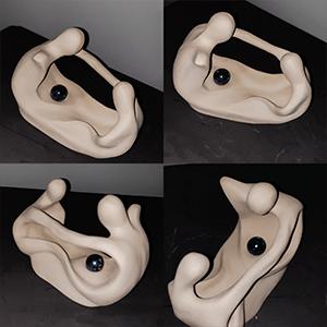 Sculpture en argile blanche vue sous différents angles réalisée par Artcor