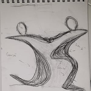 Etape du croquis de la sculpture -Artcor